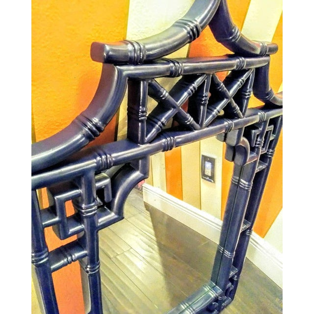 Palm Beach Regency Chinoiserie Navy Blue Pagoda Faux Bamboo Fret Work Wall Mirror For Sale - Image 4 of 8