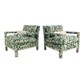 "Mid-Century Parsons Armchairs Restored in Stevie Howell ""Brambles"" - a Pair For Sale"