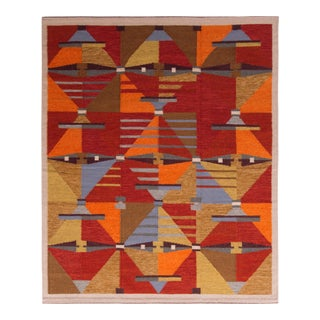 Hand-Made Scandinavian Style Kilim Red Brown Flat Weave by Rug & Kilim For Sale