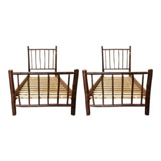 Twin Size Custom Hickory Branch Twin Bed Frames - a Pair For Sale