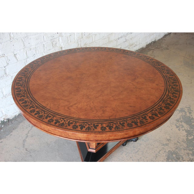 Baker Furniture Stately Homes Collection Burl Ash Regency Center Table For Sale In South Bend - Image 6 of 12