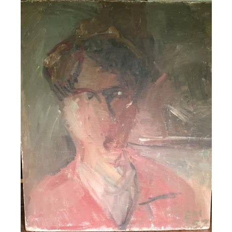 Mid-Century Modern Mid Century 1957 Painting - Two Paintings in One - Reclining Nude, Man's Portrait For Sale - Image 3 of 8