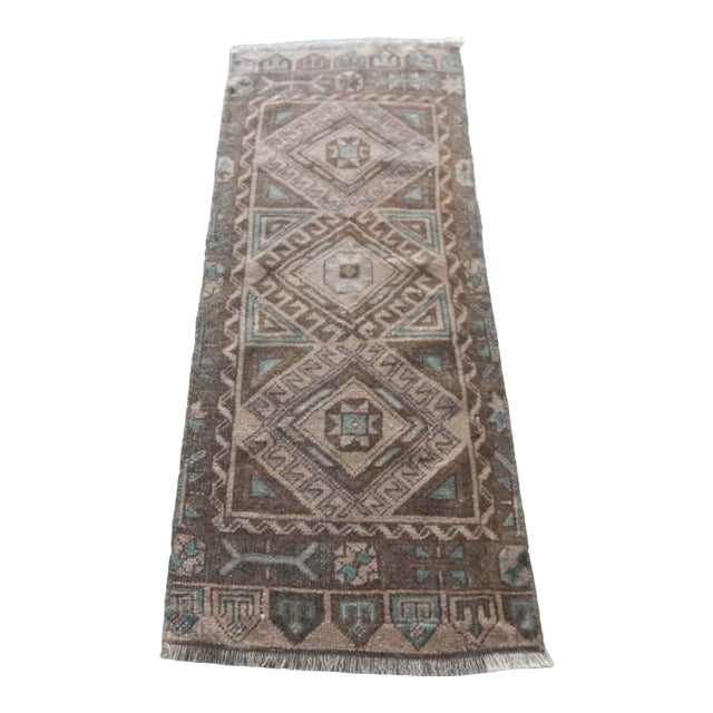 Low Pile Distressed Small Rug Hand Knotted Oushak Rug For Sale