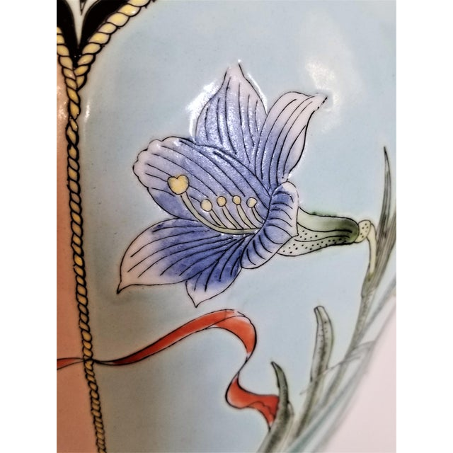 Large Famille Rose Noire Porcelain Chinese Table Lamp Flowers and Leaves For Sale - Image 10 of 13