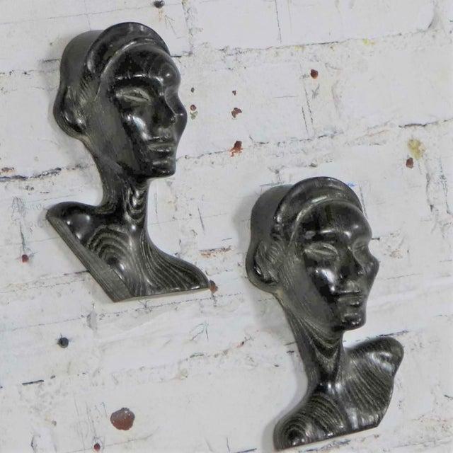 Art Nouveau Art Deco Style Ebonized Oak Carved Female Bust Vintage Wall Sculptures, a Pair For Sale - Image 3 of 13