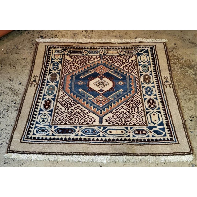 Early 20th Century Vintage Afghan Tribal Square Prayer Rug- 3′7″ × 3′8″ For Sale - Image 9 of 11