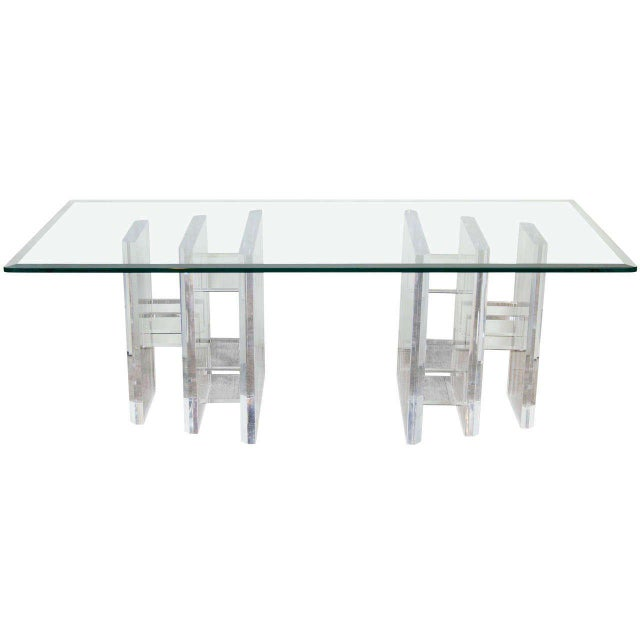 Sophisticated Mid-Century Modern Lucite and Glass Cocktail Table For Sale - Image 9 of 9