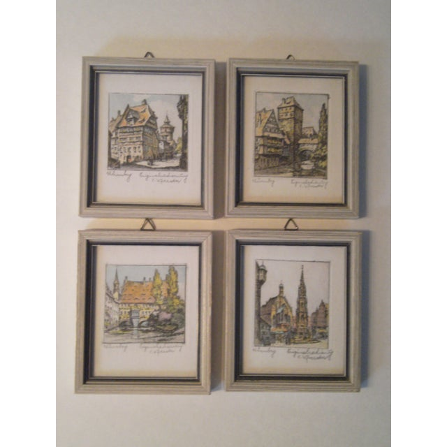 Vintage Small German Colored Etchings - Set of 4 - Image 3 of 10