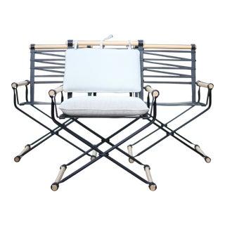 1970s Vintage Cleo Baldon Campaign Chair Set - 3 Pieces For Sale