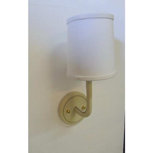 Paul Marra Top-Stitched Leather Wrapped Sconce in Cream For Sale In Los Angeles - Image 6 of 6