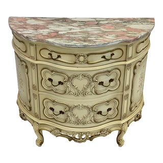 Vintage French Pink & White Marble Top Demilune Chest For Sale