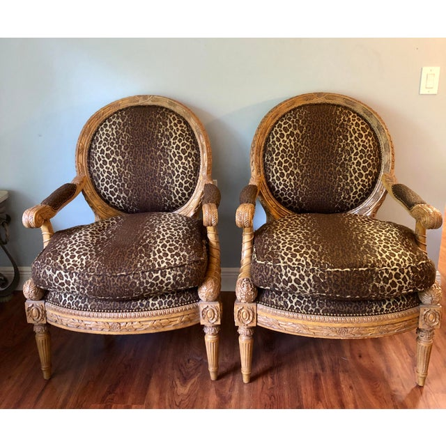 Maitland - Smith 1990s Vintage Maitland Smith Wood and Upholstered Louis XVI Style Chairs- a Pair For Sale - Image 4 of 4