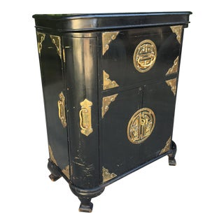 Antique Asian Chinoiserie Dry Bar Cabinet For Sale
