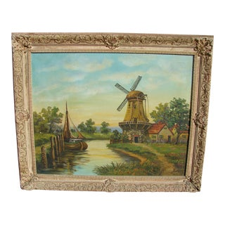 1950s Vintage Signed H. Ludden Gristmill Oil Painting For Sale
