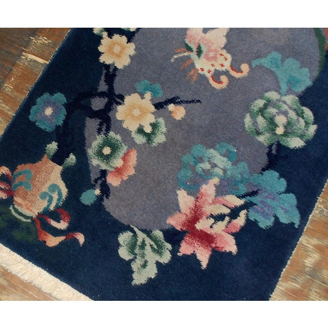 1920s Antique Art Deco Chinese Rug - 2′ × 3′10″ For Sale - Image 4 of 5