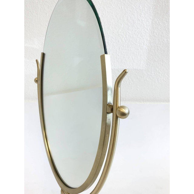 Gold Satin Brass and Leather Vanity Mirror by Charles Hollis Jones For Sale - Image 8 of 11