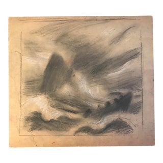 1930s Vintage Eliot Clark Seascape Whale Chalk Drawing