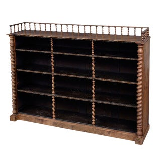 English Walnut Open Bookcase For Sale