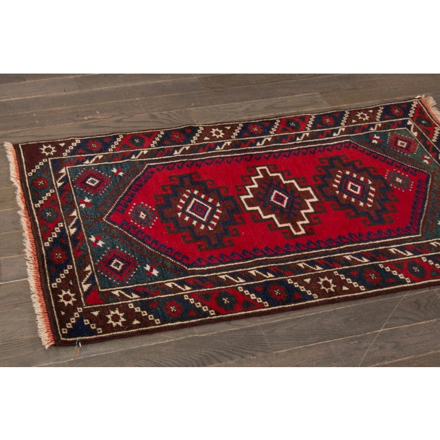 """Traditional Vintage Hand-Knotted Pakistani Balouch Rug, 2'4"""" X 4'3"""" For Sale - Image 3 of 4"""