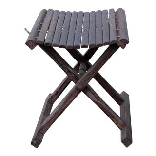 Oriental Handmade Chicken Feather Wood Bar Stick Easy Carry Folding Stool N199E For Sale