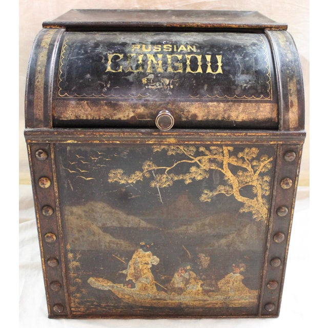 """Painted tole tea bin that housed bulk tea """"for sale"""" in a retail store. """"Russian Congou"""", was a popular 19th century black..."""