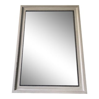 Antique Gray Painted Mirror With Bronze Beaded Trim For Sale