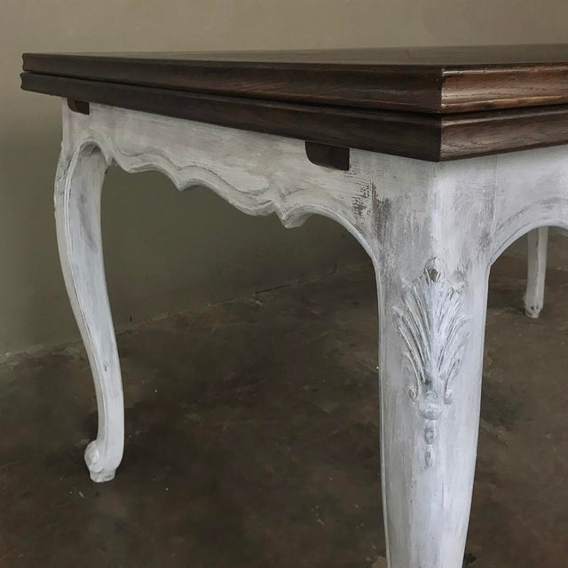 White Antique Country French Draw Leaf Painted/Stained Dining Table For Sale - Image 8 of 12