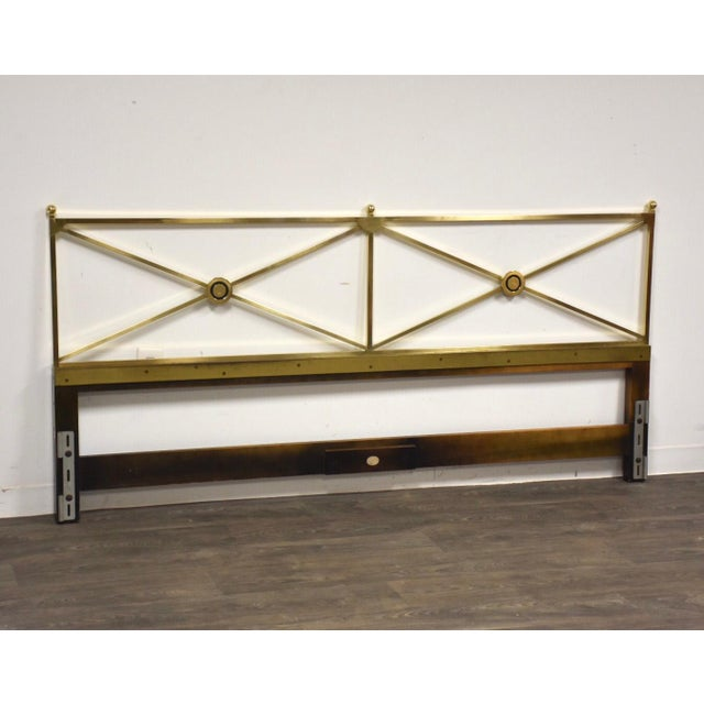 Gold Solid Brass King Headboard by Baker Mid-Century Modern For Sale - Image 8 of 8