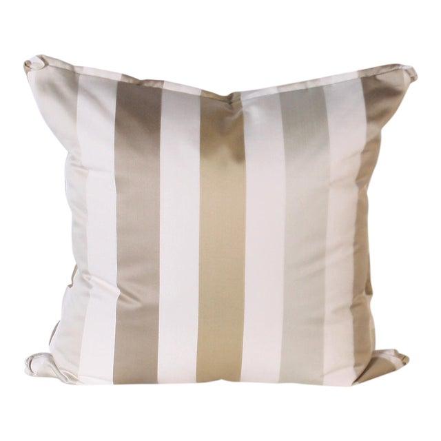 Pair of Pillows Upholstered in Jan Showers for Kravet Jan's Stripe Opal Fabric For Sale