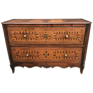 19th Century French Country Two-Drawer Mahogany Commode For Sale