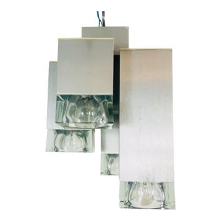 1960s Mid-Century Modern Iceglass and Metal Flush Mount by Sciolari, Italy For Sale