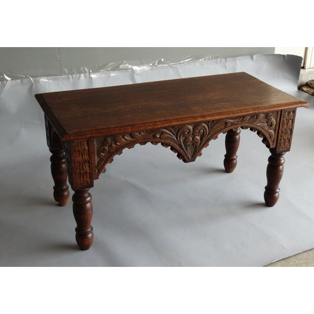 1920s Antique French Carved Oak Bench For Sale - Image 5 of 11