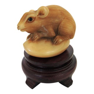 Hand Carved Netsuke Mouse on Stand