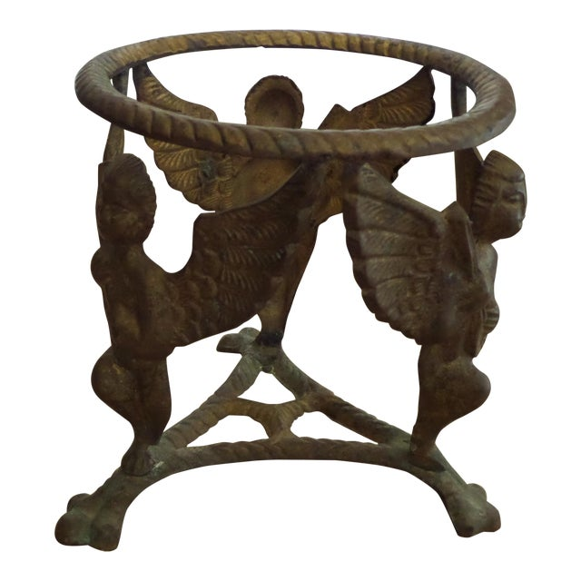 Vintage Solid Brass Display Stand With 3 Cherubs, Loin's Feet and Braided Round Top For Sale