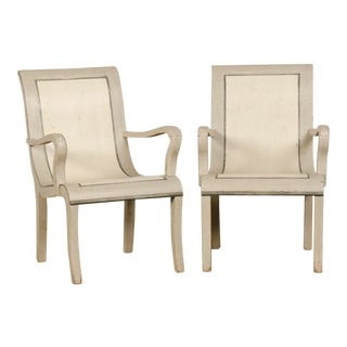 1900s Wooden Painted Armchairs - a Pair For Sale