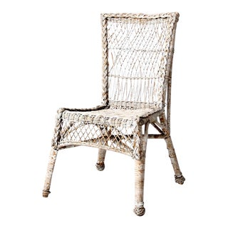 Antique White Wicker Chair