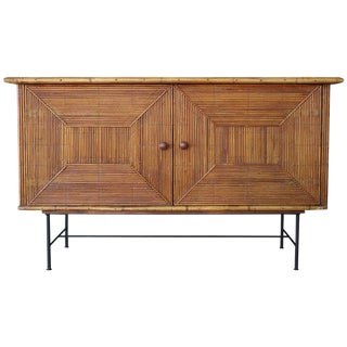 Reed Bamboo Cabinet, in the Manner of Audoux Minet, 1950s, France For Sale