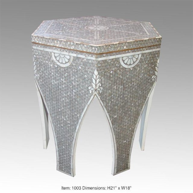 Contemporary Syrian all white mother of pearl inlay crafted exotic geometric design. The hexagon top features interlocking...