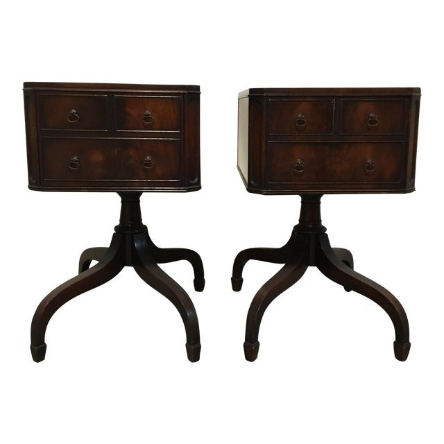 Tooled Leather Topped Side Tables - A Pair - Image 1 of 8