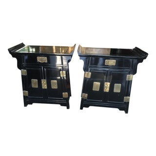 Black Lacquer Altar Tables - A Pair For Sale