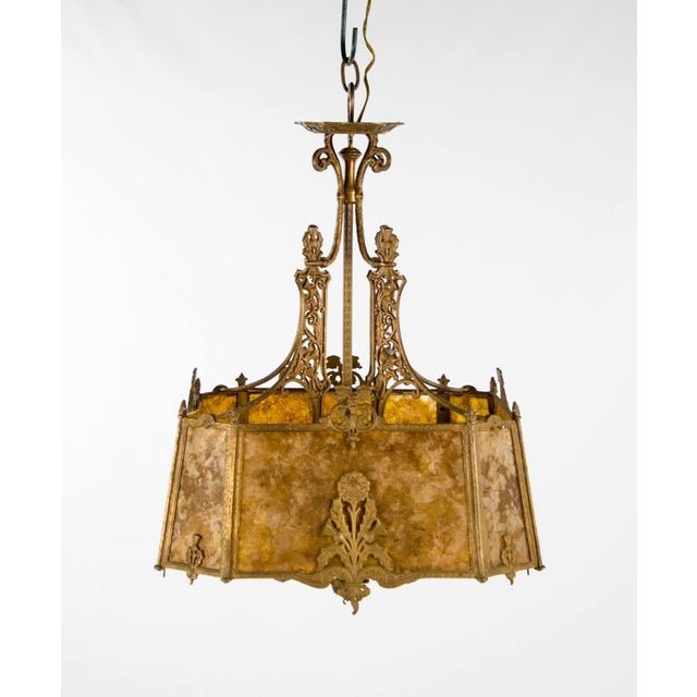 Victorian Style Mica 4 Light Chandelier For Sale - Image 4 of 13