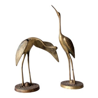 Mid-Century Brass Birds Pair For Sale