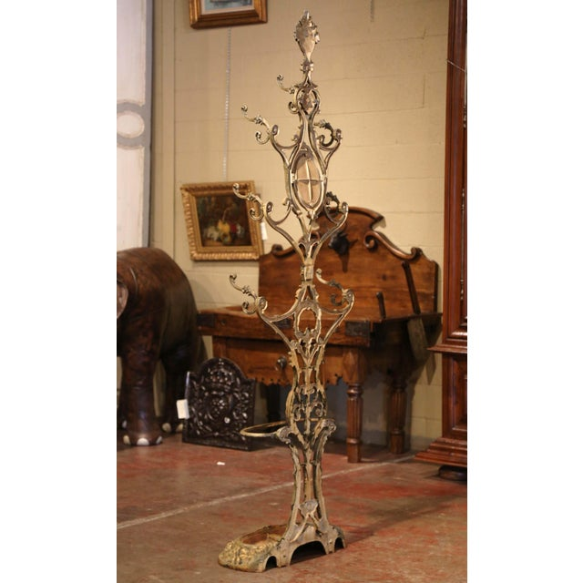 19th Century French Painted and Gilt Cast Iron Hall Stand Signed Corneau Freres For Sale - Image 9 of 10
