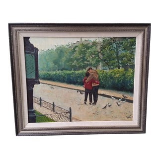 1969 Romantic Encounter in the Park Oil on Canvas Painting