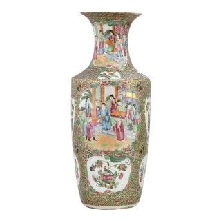19th Century Chinese Rose Medallion Vase For Sale