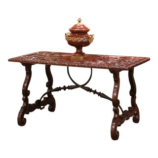 19th Century Spanish Carved Walnut and Wrought Iron Console Center Table For Sale