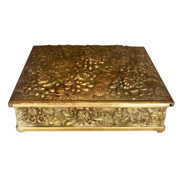Antique Brass Box Made in France For Sale - Image 9 of 10
