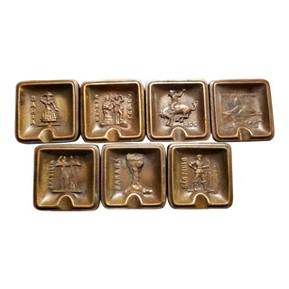 Vintage Mid-Century South American Cast Brass Ashtrays - Set of 7 For Sale