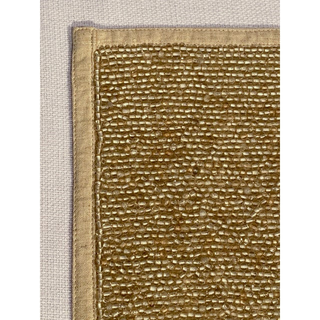 Hand-Beaded Glass and Linen Placemats by Dranfield & Ross - Set of 8 For Sale In Los Angeles - Image 6 of 11