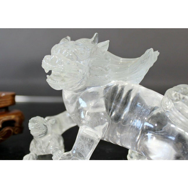 For your consideration is a lovely, crystal glass Fu Dog statuette sculpture, on a wood base. In excellent condition. The...